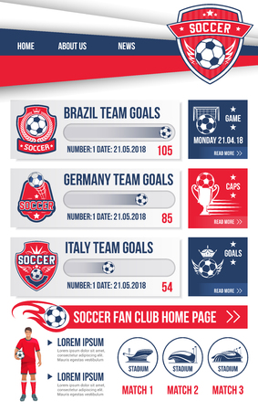 Soccer club or football team landing page web site design template. Vector buttons for soccer cup championship or international football cup tournament, soccer league team flags and goal scores