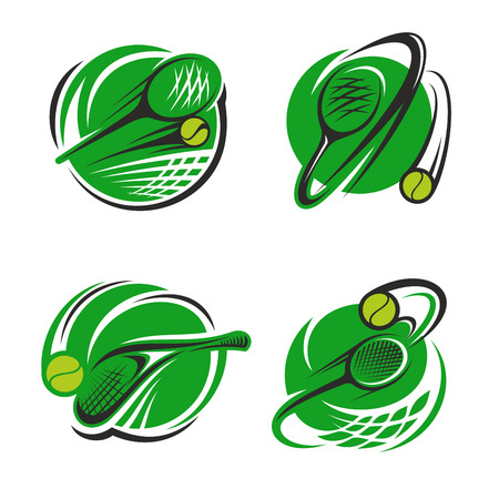 Tennis sport club icons or championship game badge templates for fan club or sport team. Vector isolated labels set of tennis racket and flying ball over green goal net Illustration