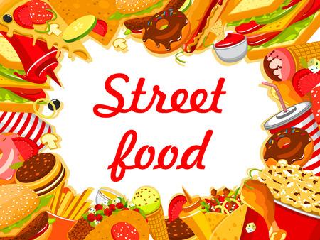 Vector street food fastfood snacks poster menu