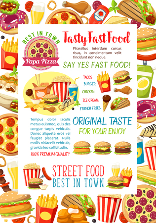 Fast food burgers meals and snacks vector poster Illustration
