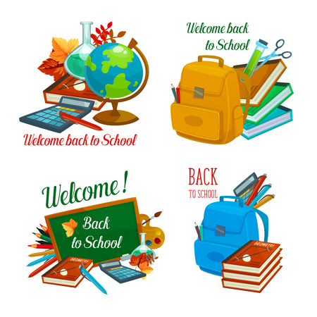 Back to School vector study stationery icons Vectores