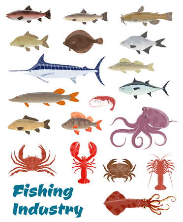 Vector fresh fish catch icons for fishery industry