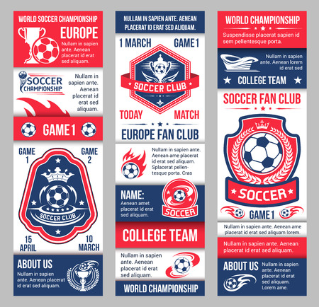 Vector banners for football soccer championship Ilustrace