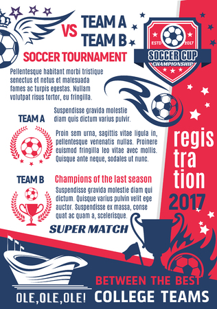 Soccer college club or football league team poster design template.