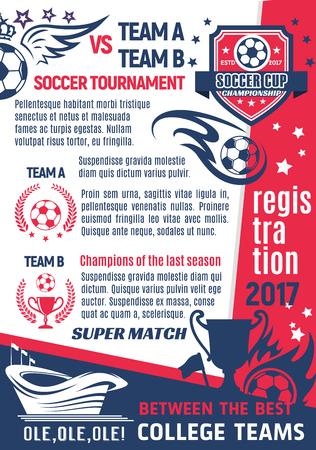 Voetbal college club of voetbal league team poster ontwerpsjabloon. Stock Illustratie