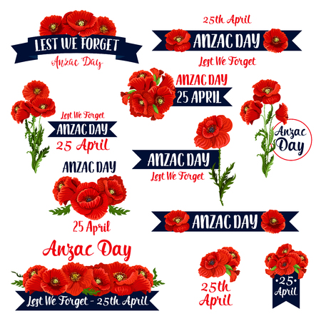 Anzac Day Lest We Forget red poppy vector icons Illustration