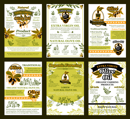 Vector posters of olives for organic olive oil Çizim