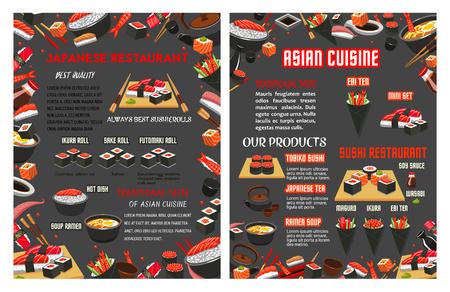 Menu de vecteur pour restaurant sushi japonais Banque d'images - 94454151