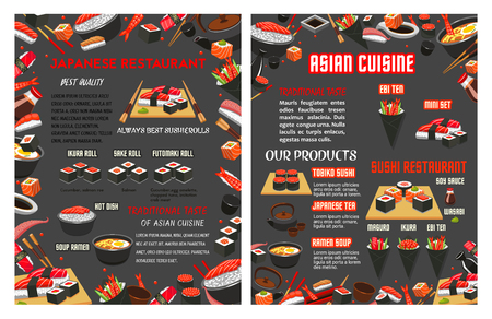 Vector menu for Japanese sushi food bar restaurant