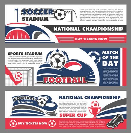Soccer cup kampioenschap wedstrijd banners ontwerpsjablonen voor voetbal nationale competitie team sport spel toernooi. Vector voetbal bal doel op arena stadion, overwinningsbeker en winnaar laurier sterren