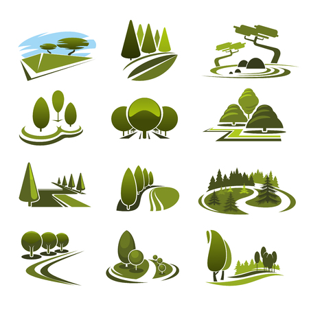 Green landscape design icons template with ecology nature trees in park Vettoriali