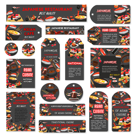 Vector Japanese sushi food bar restaurant banners