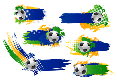 Vector football soccer ball icons or banners Stock Illustratie