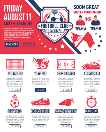 Web page design football soccer tournament Ilustrace