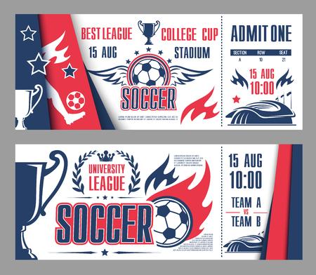 Vector tickets of football soccer league championship. Illustration