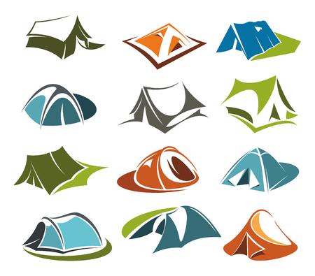 Icônes de tente de vecteur camping aventure aventure de site. Banque d'images - 94497515