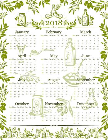 Vector olives olive oil calendar 2018 design illustration.