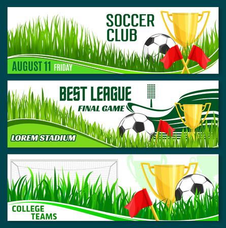 Vector football club soccer sport league banners illustration. Ilustração
