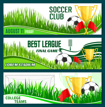 Vector voetbal club voetbal sport league banners illustratie.