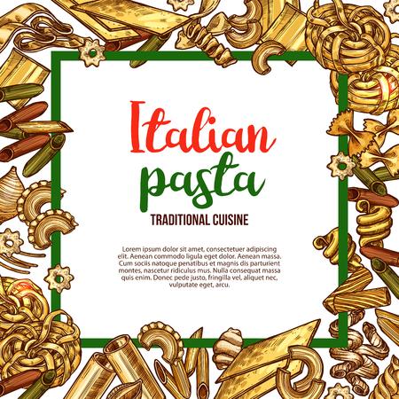 이탈리아 요리를위한 벡터 파스타 스케치 포스터 일러스트