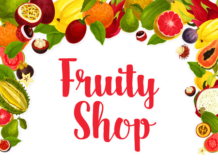 Exotic fruits poster for fruity shop or farm market. Vector design of tropical papaya and passion fruit maracuya, juicy grapefruit, banana and kiwi, lychee, carambola or durian and orange or feijoa
