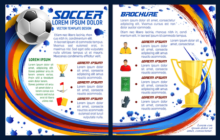 Soccer sport game or football team league brochure design template of ball and cup. Vector soccer championship or international football tournament goal scores and league team players information