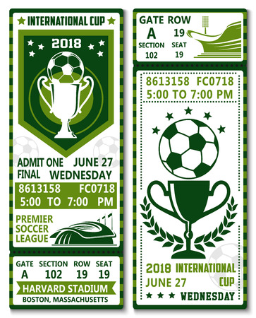 Soccer league international cup championship or football sports game tickets design template. Vector green color admit tickets with soccer league team flags, ball and cup award, laurel or stars