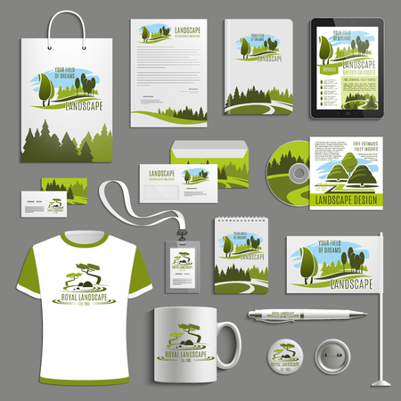 Landscape design or horticulture landscaping advertising promo items template for branding. Vector branded apparel and office stationery t-shirt apparel, business card, flag, mug cup and paper bag