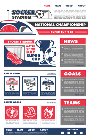 Soccer sport landing page web site design template of home, about and team information buttons. Vector soccer cup sport game championship or football match tournament team flags and goal scores