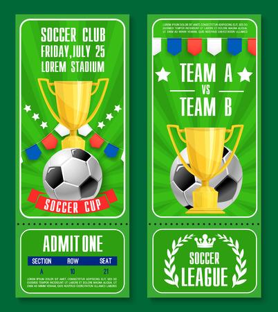 Vector tickets of football soccer team championship