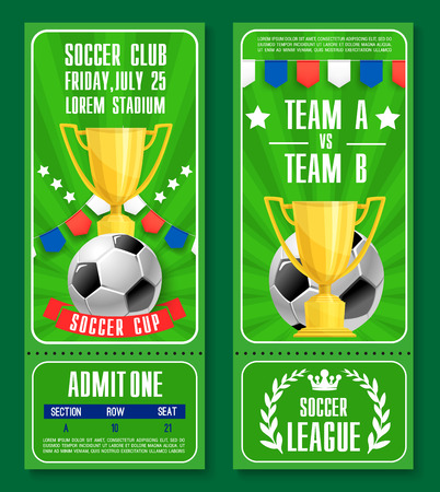 Vector tickets of football soccer team championship