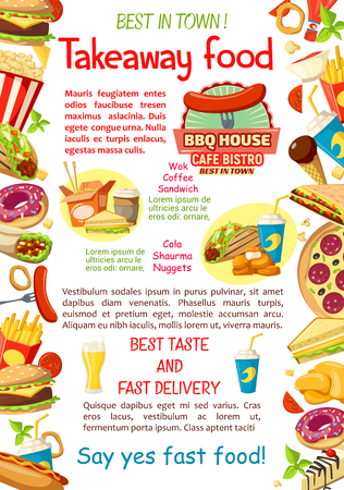 Vector fast food restaurant menu poster Illustration
