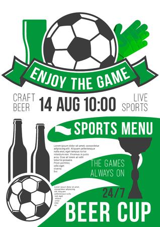 Vector poster soccer sport bar football beer pub Ilustracja