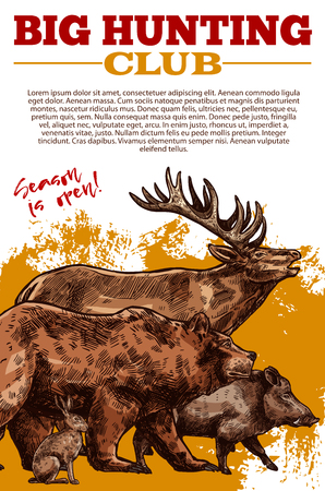 Vector sketch poster of hunting club wild animals Illustration