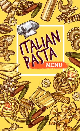 이탈리아어 파스타 레스토랑 메뉴 스케치 디자인 템플릿. 이탈리아 요리 마카로니, 라자냐 또는 스파게티와 페투치니, 전통적인 라비올리 또는 파파