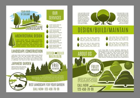 녹색 조 경 디자인 브로슈어 서식 파일을 구축 하 고 유지 관리 서비스 또는 에코 환경 회사입니다. 원 예 또는 정원 원 예에 대 한 벡터 포스터 녹색 생 일러스트