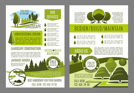 Green landscape design brochure template for build and maintain service or eco environment company. Vector poster for gardening or garden horticulture landscaping of green ecology nature trees or park Stockfoto - 94426714
