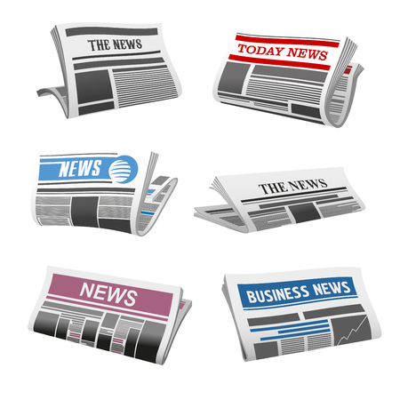 Newspaper isolated icons of folded news magazine. Vector daily news press title and text printed on pages with sign of publishing house for newspaper or information journal design template 版權商用圖片 - 94426718