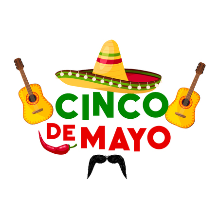 Mexican Cinco de Mayo fiesta party greeting card. Sombrero hat, chili pepper and flamenco guitar, jalapeno and moustache isolated icon for latin american holiday festive poster design.