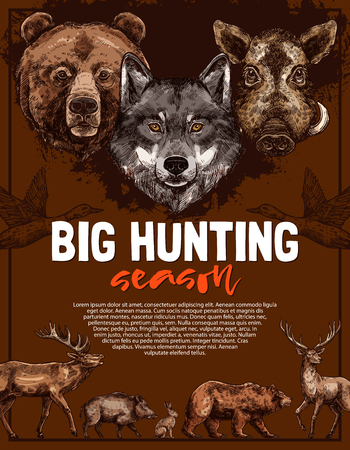 Wild animal poster for open hunting season template. Deer, bear and wolf, duck, boar, elk and hare forest animal and bird sketches for hunter club and hunting sport information poster Çizim