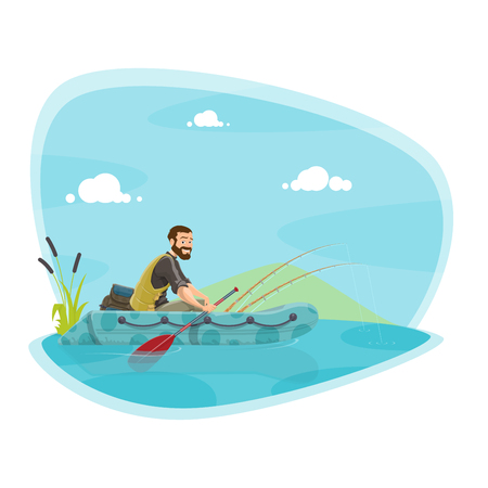 Fishing sport icon of boat fishing outdoor activity. Fisherman fishing from rubber boat on lake or river with rod and net cartoon symbol for sport, leisure and recreational hobby themes design