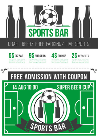 Sport bar menu poster with football sport event admission ticket. Soccer ball, beer glass and bottle on football stadium field background for sport pub invitation template design.