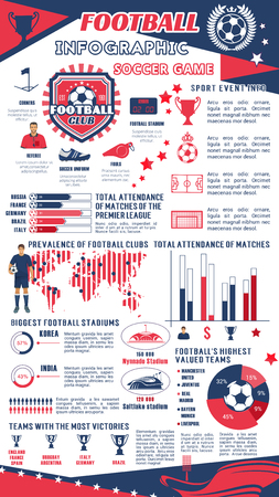 Football or soccer infographic of sport club. Иллюстрация