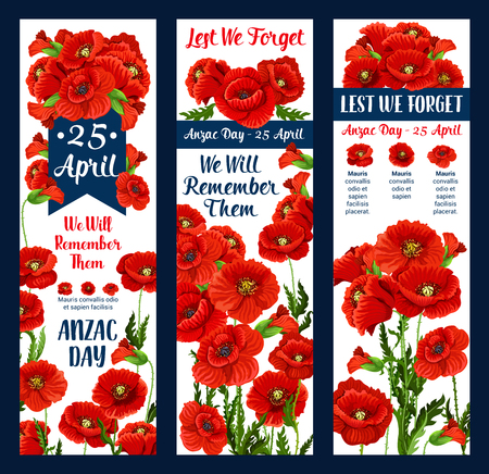 Anzac Day Lest We Forget greeting icon and poppy flower for 25 April Australian and New Zealand war remembrance anniversary greeting. Vector Anzac Day poppy symbol poppy and commemorative blue ribbon.