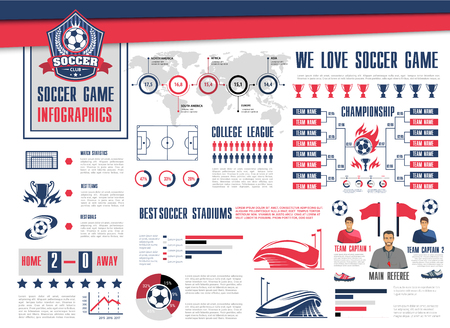 Soccer or football sport game information graphic design.