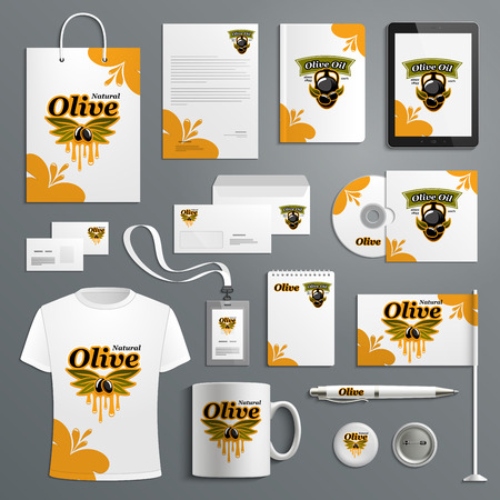 Corporate identity template for olive farm product.