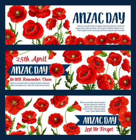 Anzac Day greeting banners of poppy bunch for Australian war commemorative day of Australia and New Zealand soldiers veterans. Vector red flowers for war remembrance on Australian Anzac Day