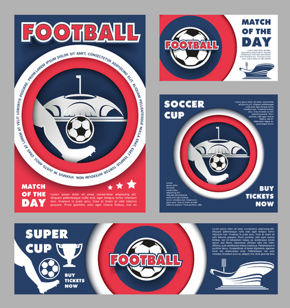 Football championship match poster for soccer sport game template. Football stadium field with soccer team player and ball invitation or announcement banner, adorned by winner trophy cup and star Ilustração