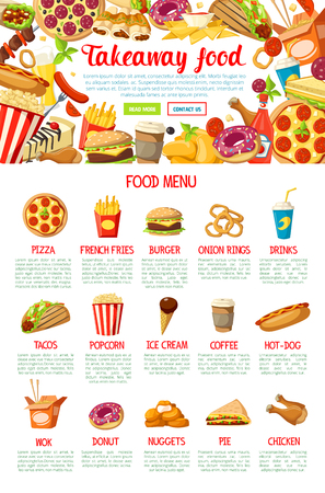 Fast food restaurant menu with frame border of hamburger, hot dog, pizza and fries, donut, chicken nugget, soda and coffee drinks. Ice cream, popcorn, taco, pie and burrito dish for web banner design