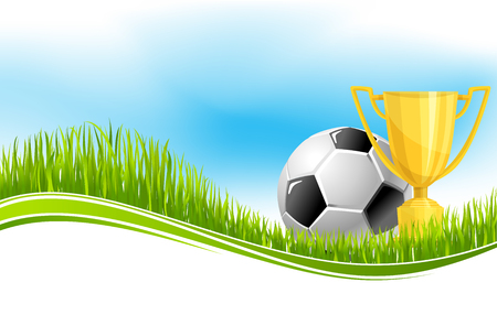 Soccer ball and football winner cup banner for championship tournament. Green grass field of football stadium with soccer ball and golden trophy for sporting competition themes or sport club design 矢量图像